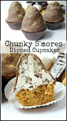Chunky S'mores Dipped Cupcakes Recipe - graham cracker cake, marshmallow frosting, and lots of chocolate! snappygourmet.com