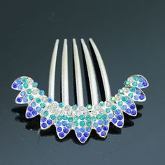 AandC Vintage Princess Hair Combs, Fashion Rhinestone Leaves Hair Clips and Headwear for Women. (Blue) * You can find out more details at the link of the image. #haircare