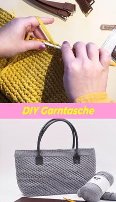 Knitting Yarn, Hand Knitting, Knitting Patterns, Crochet Patterns, Crochet Granny Square Afghan, Tunisian Crochet, Bag Crochet, Crochet Crafts, Feed Bag Tote