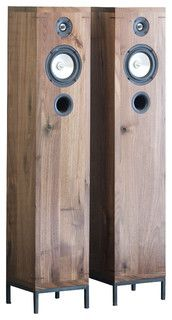 2-Way Furniture-Style Hi-Fi Walnut Speakers - Industrial - Home Electronics - by Kith & Kin