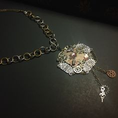 Hand Crafted Vintage Steampunk Necklace with Metal Gears and Intricate Accents by CombustionArchive on Opensky