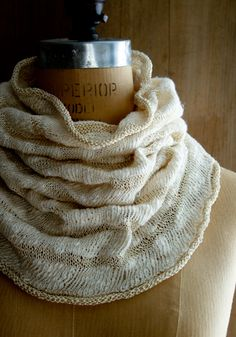 Knitting Crochet Sewing Crafts Patterns and Ideas! - the purl bee -  Laura's Loop:  WHITE CAPS COWL -  Habu's thick & thin Cotton Nerimake Slub and Alchemy's Silken Straw , a flat silk ribbon. Pattern's available at Purl's.