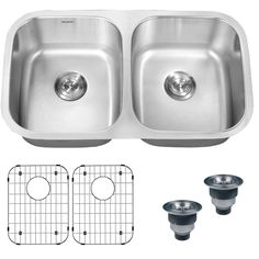 Rejuvenate the look of your kitchen with this double-bowl undermount kitchen sink. This sink is crafted from heavy-duty stainless steel for longwearing use. The rounded corners and deep bowls provide a modern style that will enhance any decor.