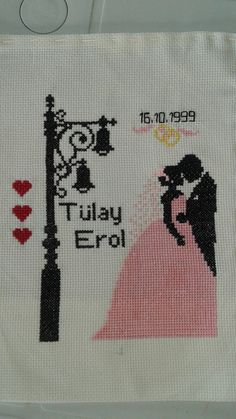 This Pin was discovered by Mer Wedding Cross Stitch, Cross Stitch Heart, Cross Stitch Cards, Cross Stitch Flowers, Cross Stitching, Wool Embroidery, Applique Embroidery Designs, Cross Stitch Embroidery, Cross Stitch Designs