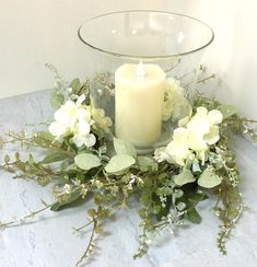 Christmas Door Decorations, Christmas Swags, Farmhouse Candles, Candle Rings, Hydrangea Wreath, Wedding Wreaths, Baskets On Wall, Easter Wreaths, Summer Wreath