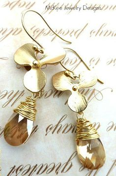 Orchids. Flower dangle Gold and brass jewelry. 24K gold vermeil earrings with wire wrapping.