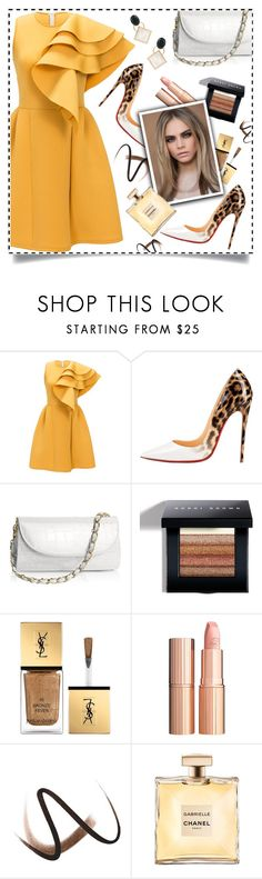 """the gorgeous dress"" by teto000 ❤ liked on Polyvore featuring Christian Louboutin, Bobbi Brown Cosmetics, Yves Saint Laurent, Charlotte Tilbury, Burberry, Marni, yellow, dress, leopard and trending"