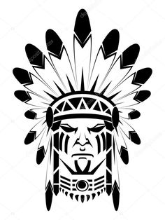 Illustration of Native American Head vector art, clipart and stock vectors. Native Art, Sketches, Drawings, Indian Art, Indian Chief Tattoo, Free Art Prints, Native Tattoos, American Indian Tattoos, Indian Skull