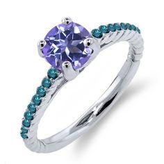 1.22 Ct Round Tanzanite Blue Mystic Topaz Blue Diamond 925 Sterling Silver Ring, Women's, Size: 8