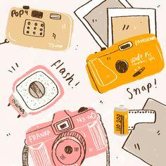Illustration by Amy Lesko Art And Illustration, Camera Illustration, Design Art Drawing, Posca Art, Cute Art, Art Drawings, Pose, Doodles, Stickers