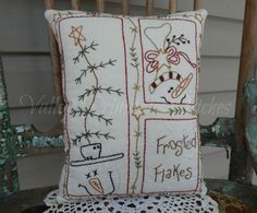 Decorative Winter/Christmas Pillow Frosted by valleyprimitives