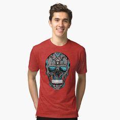 'Blue and Grey Los Muertos Sugar Skull' T-Shirt by kenallouis Creative Shirts, Cool T Shirts, Tee Shirts, Skull Artwork, Skull Shirts, Cool Graphic Tees, Shirts For Teens, Tshirt Colors, Sugar Skull