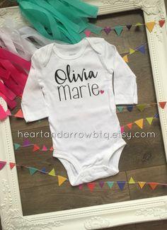 Girls' Personalized Name Onesie®/ Bodysuit / TShirt / Newborn / Baby / Toddler / Baby Name / Newborn Announcement / Photography / Gift by HeartandArrowBtq on Etsy