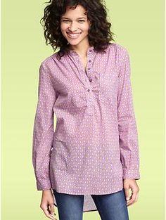Printed roll-sleeve henley tunic