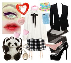 """""""School time Sweetheart"""" by liljeaniebug ❤ liked on Polyvore featuring Agent Provocateur, Chicwish, H&M, Gemma Lister, Balmain, Panda, France Luxe, Yves Saint Laurent, Miss Selfridge and Skinnydip"""