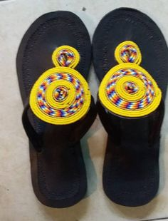 ON SALE Yellow bead sandal African beaded sandals Masai Bohemian Shoes, Beaded Sandals, Flat Sandals, Brown Leather Sandals, Soft Leather, Beautiful Sandals, African Beads, Artisanal, Etsy