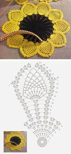 Crochet doily Sunflower pattern