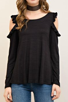 Black blouse with ruffle sleeve and open shoulders. Long sleeve. Comfortable fabric. Slight line texture on top.  Ruffle Shoulder Top by Entro. Clothing - Tops - Blouses & Shirts Missouri