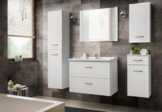 Windermere 6 Piece Bathroom Storage Furniture Set with Mirror August Grove Mirror Cabinets, Bathroom Cabinets, Bathroom Storage, Free Standing Vanity, Free Standing Cabinets, Under Sink Storage Unit, Cabinet Shelving, Vanity Units, Double Vanity