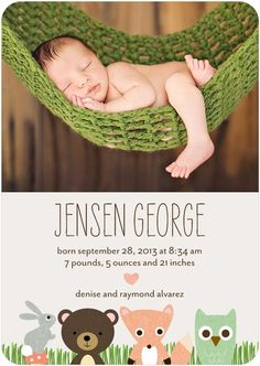 One of our brand new birth announcements with room for a photo and woodland friends.