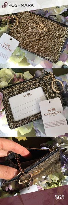 """Coach skinny ID wallet & key chain Perfect for out & about... this Coach leather wallet holds your ID, coins or cash, and your keys in style. Beautiful gold hardware complements the black/gold pebbled leather.   -Gold Textured Leather. Gold Logo on Front -Zip Top Closure -Clear ID Slot on Back with 2 Additional Slots -Black Satin Interior with Attached Key Ring -Approximate Measurements: 4 1/2"""" (L) x 3"""" (H) Coach Accessories Key & Card Holders"""