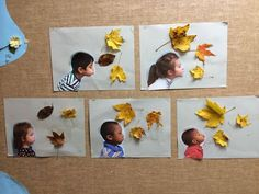 Nice idea! Would take a photo with a white background instead of cutting the child out and rhen glue some leaves on the photo. #kids #autumn #fall #craft #easy