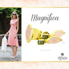 Combina este precioso juego de oro amarillo de 18K con Cuarzo rosa y Topacio Azul y luce magnífica. ¡Brilla siempre con Effigia! #Outfit #Rosa #Joyas