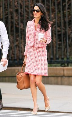 Take Note! Amal Clooney Steps Out in a Chic Tweed Suit Near Columbia University  Amal Clooney