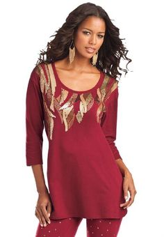 BESTSELLER! Roamans Plus Size Beaded Feather Tunic $39.99