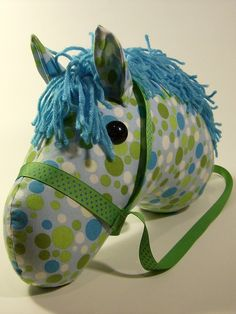 Turquoise and Green spotted stick horse head Stick Horses, Cowboys And Indians, Hobby Horse, Horse Head, Craft Stores, Flower Patterns, Cool Kids, Babys, Sewing Projects