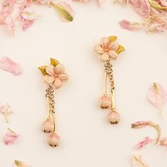 🌿🌸 The Cherry Blossom Statement Earrings 🌸🌿. Still Life Photography, Fashion Photography, True Beauty, Statement Earrings, Cherry Blossom, Bloom, Hair Accessories, Hand Painted, Jewellery