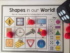 Shapes in the environment roll and cover activity. Perfect for Pre-K and Kindergarten! $