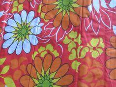 1960s Mod Daisy Orange Cotton Sheeting | Vintage Fabric Addict