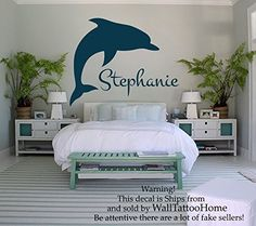 Find amazing Wall Decals Personalized Name Decal Vinyl Sticker Girl Nursery Room Dolphins Decor Home Bedroom Interior Design Art Mural dolphin gifts for your dolphin lover. Wall Stickers Murals, Wall Decal Sticker, Wall Murals, Home Bedroom, Girls Bedroom, Bedroom Ideas, Dolphin Bedroom, Nursery Room, Girl Nursery