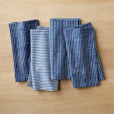 set of 4 indigo stripe napkins | CB2