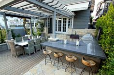 Outdoor Bar Stools for Patio with Kitchen: Great Outdoor Bar Stools Design Furniture Made From Wooden Material Used Contemporary Touch For Home Inspiration To Your House