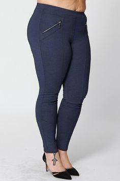 Blue Zip Detail Trousers