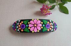 Polymer Clay Barrette  Floral design french by FlowertownOriginals, $14.00