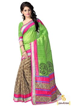 Get the most traditional appearance with this green brown bhagalpuri casual saree. This saree is perfect for special occasion or daily wear.  http://www.pavitraa.in/store/casual-saree/ #sarees, #saree, #haltcreapesaree, #designersaree, #bhagalpurisaree, #partywearsaree, #casualsaree, #printedsaree, #sareewithblouse, #festivalsaree, #fashion