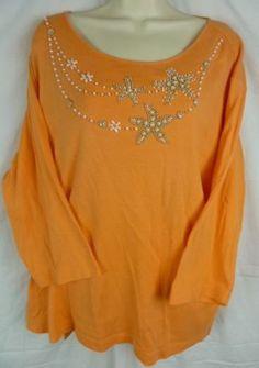 Quacker-Factory-Golden-Necklace-Womens-Stretch-Knit-3-4-Sleeve-Cotton-Top-2XL