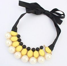Korean Style of the Retro Court Lady Ribbon Pearl Collar Necklace Statement Necklace $6.88
