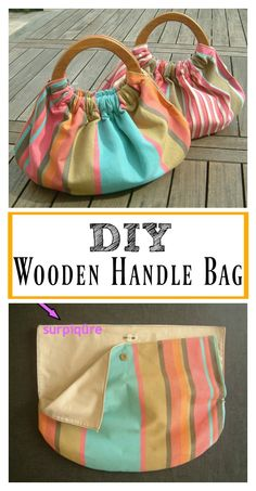 Marvelous Make a Hobo Bag Ideas. All Time Favorite Make a Hobo Bag Ideas. Wooden Handle Bag, Wooden Handles, Diy Bag Handles, Door Handles, Diy Bags Purses, Diy Handbag, Handbag Tutorial, Diy Purse, Leftover Fabric