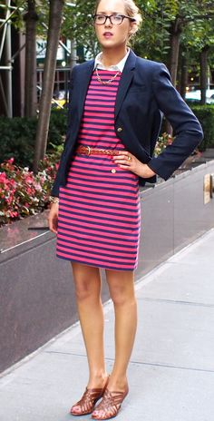 The Classy Cubicle: Back to School. The fashion blog for professional women in need of office style inspiration and work wear ideas for the corporate world and beyond. {lilly pulitzer, brooks brothers, j. crew, ralph lauren, oxford shirt, priveleged necklace, chain link, corso como, sandals, striped dress, navy blazer, fall fashion}
