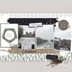 Snowfall on Windsor Castle Scrapbook Designs, Scrapbooking Layouts, Digital Scrapbooking, Castle Layout, Travel Scrapbook Pages, Windsor Castle, Christmas Scrapbook, Layout Inspiration, Happy Planner