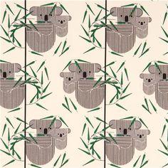 cream 'Koala Koala' koala bear circle birch organic fabric USA 2