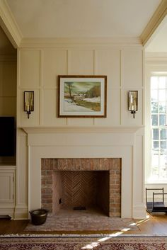 10 Seductive Clever Tips: Fireplace Built Ins Tiny House painted fireplace brick.Faux Fireplace With Tv Above fireplace decorations marble tiles.Old Fireplace Brick. Brick Fireplace Makeover, Farmhouse Fireplace, Home Fireplace, Fireplace Design, Fireplace Ideas, Fireplace Brick, Herringbone Fireplace, Fireplace Molding, Classic Fireplace