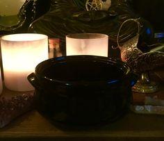 Black porcelain cauldron Altar Decoration by TriquetraBoutique Meditation Supplies, Altar Decorations, Cauldron, Chocolate Fondue, Porcelain, Desserts, Black, Food, Tailgate Desserts