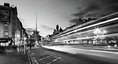 Light Trails On O'connell Street At Night - Dublin Print by Barry O Carroll Light Trails, Dublin City, Black And White Photography, Beverly Hills, Fine Art America, United Kingdom, Street View, Park, Night