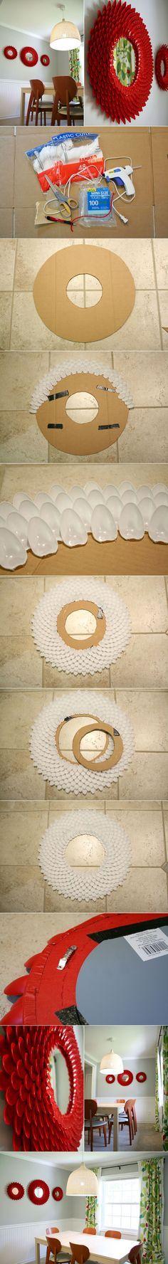 DIY Decorative Chrysanthemum Mirror with Plastic Spoons | www.FabArtDIY.com LIKE Us on Facebook ==> https://www.facebook.com/FabArtDIY