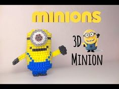 3D HAMA BEADS MINIONS movie 3d pyssla - YouTube